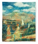 The Banks Of The Seine At Argenteuil Fleece Blanket
