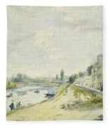 The Banks Of The Seine At Bougival Fleece Blanket