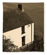 The Boathouse At Laugharne Sepia Fleece Blanket