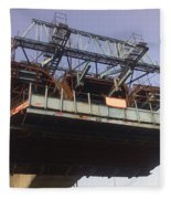 The Bridge Building Platform Being Used In The Construction Of The Delhi Metro Fleece Blanket
