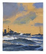 The British Cruisers Hms Exeter And Hms York  Fleece Blanket