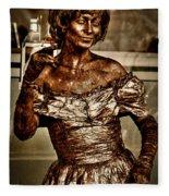 The Bronze Lady In Pike Place Market Fleece Blanket