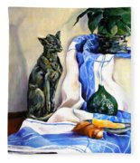 The Cat And The Cloth Fleece Blanket
