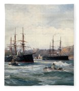 The Channel Fleet Off Scarborough Fleece Blanket