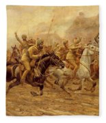 The Charge Of The Bengal Lancers At Neuve Chapelle Fleece Blanket