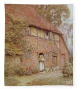 The Cottage With Beehives Fleece Blanket