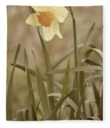 The Daffodil In Partial Sepia Fleece Blanket