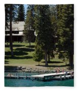 The Dock At Sugar Pine Point State Park Fleece Blanket