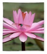 The Dragonfly And The Pink Water Lily Fleece Blanket