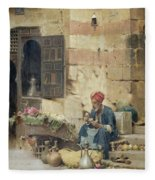 The Flower Seller Fleece Blanket