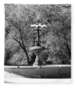 The Fountain In Black And White Fleece Blanket