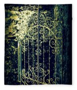 The Gate In The Grotto Of The Redemption Iowa Fleece Blanket