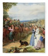 The Girls We Left Behind Us - The Departure Of The 11th Hussars For India Fleece Blanket