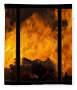 The Home Fires Are Burning Triptych Fleece Blanket