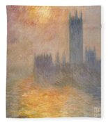 The Houses Of Parliament At Sunset Fleece Blanket