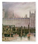 The Houses Of Parliament In Course Of Erection Fleece Blanket