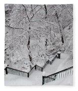 The Hundred Steps In The Snow Fleece Blanket