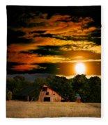 The Late Sam's Rd. Barn In The Moonlight Fleece Blanket