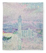 The Lighthouse At Antibes Fleece Blanket