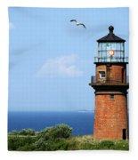 The Lighthouse On Martha's Vineyard Fleece Blanket