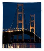 The Mackinaw Bridge At Night By The Straits Of Mackinac Fleece Blanket