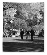 The Mall At Central Park In Black And White Fleece Blanket