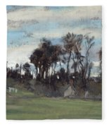The Meadow Lined With Trees  Fleece Blanket