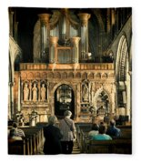 The Nave At St Davids Cathedral Fleece Blanket