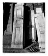 The Old Doors Bw Fleece Blanket