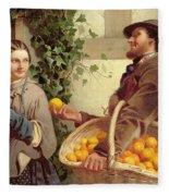 The Orange Seller  Fleece Blanket