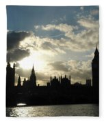 The Outline Of Big Ben And Westminster And Other Buildings At Sunset Fleece Blanket
