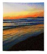 The Painted Waves Of Dawn  Fleece Blanket