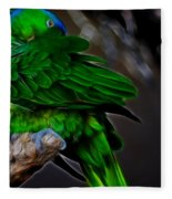 The Parrot Fractal Fleece Blanket