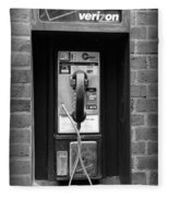 The Payphone - Black And White Fleece Blanket