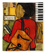 The Piano Lady Fleece Blanket