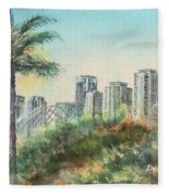 The Pike And Downtown Long Beach Fleece Blanket