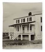 The Piney Point Lighthouse In Sepia Fleece Blanket