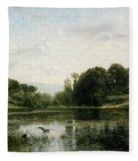 The Pond At Gylieu Fleece Blanket