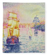 The Port Of Marseilles Fleece Blanket