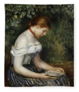 The Reader A Seated Young Girl  Fleece Blanket
