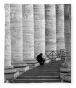 The Reader Amidst The Columns Bw Fleece Blanket