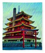 The Reading Pagoda Fleece Blanket