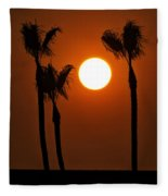 The Red Sunset  Fleece Blanket