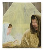 The Savior Is Born Fleece Blanket