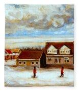 The Schoolhouse Winter Morning Quebec Rural Landscape Fleece Blanket