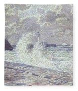 The Sea During Equinox Boulogne-sur-mer Fleece Blanket