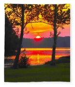 The Smiling Face Sunset Fleece Blanket
