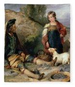 The Stone Breaker And His Daughter Fleece Blanket