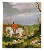The Suffolk Hunt - Going To Cover Near Herringswell Fleece Blanket