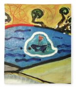 The Sun And A Boat Painting Fleece Blanket